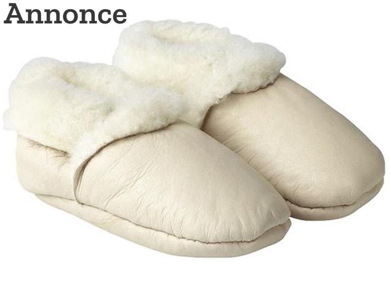 Hvide hjemmesko i uld og lammeskind fra Lanowool